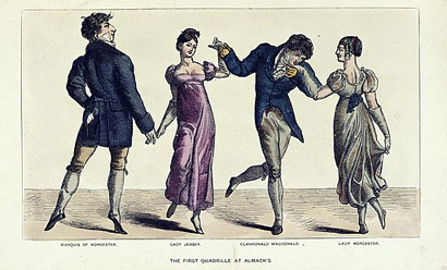 Color illustration of two couples dancing at the first quadrille at Almack's in 1892