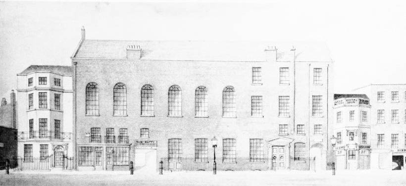 Black and white sketch of Almack's building exterior