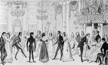 Black and white illustration of dancers in the Almack's Assembly Room